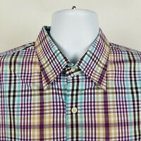 Peter Millar Mens Purple Blue Red Brown Plaid Check Dress Button Shirt Size XL