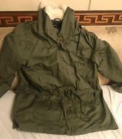 NEW LOOK Brand Olive Green Snap Button Men's Waterproof Jacket W Lining Sz 2XL