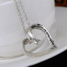Womens Love Heart Mom Pendant Necklace Engraved A Mother Holds Her Child's Hand