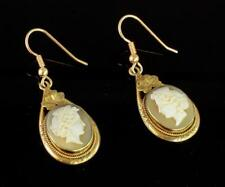 Antique Victorian Carved Shell Cameo Pendant Drop Earrings With 9Ct Gold Wires