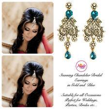 INDIAN Bollywood Oro Cristallo Goccia Dangle Orecchini Lampadario da Sposa Oro Blu S