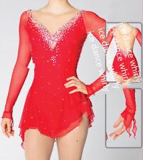 Sparkle Red Girl Figure skating Dress Ice Skating Dress Costume