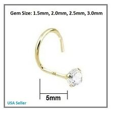 14K 22G Solid Yellow Gold Nose Screw Ring Cubic Zirconia 1.5/2.0/2.5mm Round Gem