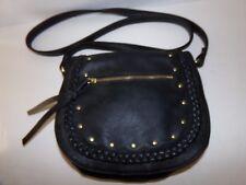 e5c6b429f950 MADDEN GIRL Crossbody Bag Braided Trim Handbag Faux Leather Black w Gold  NWOT