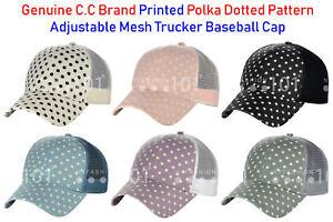 NEW! C.C Printed Polka Dotted Pattern Adjustable Mesh Trucker Baseball CC Cap