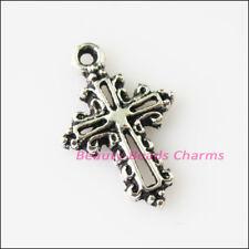20Pcs Tibetan Silver Tone Flower Cross Frame Charms Pendants 13.5x20mm