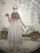 Art Deco Porcelain Plate Depicting Chic Lady In Front of 1930s Car