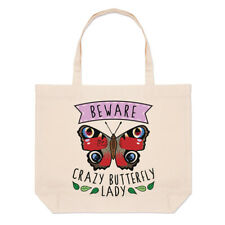 Beware Crazy Butterfly Lady Large Beach Tote Bag Animal Funny