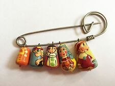Vintage Russian Nesting Dolls Matryoshka Brooch Pin Hand-painted 5pc Charms