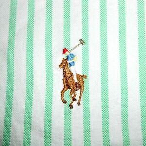 17 1/2 - 36/37 Polo Ralph Lauren GREEN/WHITE OXFORD Dress Shirt 100% Cotton PRL