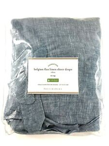 "Pottery Barn Belgian Flax Linen Tie Top Sheer Drape Curtain 50 x 84"" Gray Rideau"