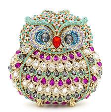 Multi-color~OWL~ Bird~Handmade Austrian Crystal Purse Cocktail Evening Bag