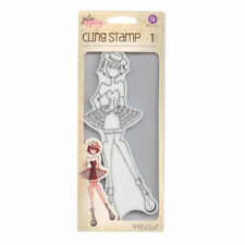 Julie Nutting ~ Priscilla ~ Rubber Cling Stamp Girl in Dress Fancy Club Dance