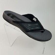 Propet Bandon Mens Thong Sandal Black/Leather Straps  Size 11.5  #B45