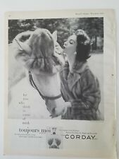 1955 Toujours Moi Corday perfume Woman Ritter Bros mink coat kissing horse ad