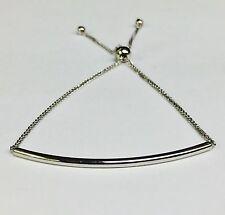 """14kt White Gold 9.25"""" Friendship bracelet with Adjustable slide clasp"""