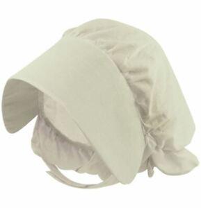 Childs Girls White Victorian Bonnet Hat Book Week Fancy Dress Accessory
