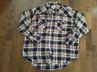ELY CATTLEMAN LS Flannel Shirt Sz XXL Tan Black Red Plaid Pearl Snaps Western