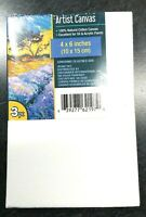 """3pk 4"""" x 6"""" White Cotton Artists Canvases Canvas Painting Acrylic or Oil Paints"""