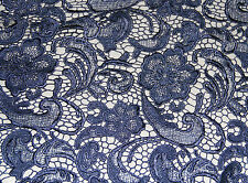 G40 Navy Guipure Frech Bridal Lace by 1/2 Yard 120cm Wide