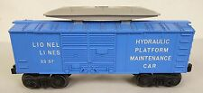 LIONEL POST WAR #3357 COP & HOBO HYDRAULIC PLATFORM MAINTENANCE CAR-VG ORIG!