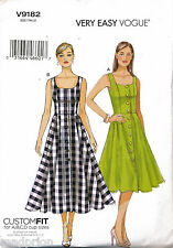 VOGUE SEWING PATTERN 9182 MISSES SZ 14-22 FLARED BUTTON FRONT CUSTOM FIT DRESSES