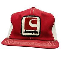 🧢 Vintage Red White CHAMPLIN Mesh Hat Cap Trucker Snapback K-BRAND USA