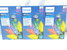Phillips C6 Christmas Holiday Lights 60ct D1 LED Multicolor Sets Set of 3 NEW