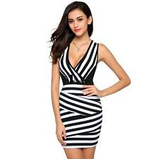 Stylish Ladies Women V-neck Black and White Stripped Bodycon Slim Fit Dress Rose Red XXL