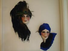 Art Deco Women Face Wall Décor 2 pc Girls Head 20's Plumes Peacock Feather Mask