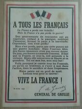 """PETITE AFFICHE WW2 """"A TOUS LES FRANÇAIS"""" - GÉNÉRAL DE GAULLE - APPEL DU 18 JUIN"""