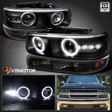 99-02 Silverado Halo LED Black Projector Headlights & Bumper Lamps