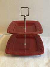 Htf Longaberger Woven Traditions Pottery Tomato Red Two Tier Stand Tray Serving