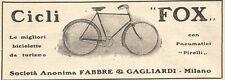 W7592 Bicicletta FOX - Pubblicità del 1909 - Old advertising