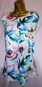 Bnwt (£24) Size 26 Floral Kaftan Tunic Top. Silky Feel. Keyhole. (3438)