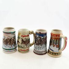 Budweiser Lot 4 Steins Holiday Clydesdales Anheuser-Busch Ceremonte 1989 1993