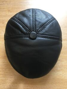 REAL LEATHER 100% GENUINE MEN'S FLAT CAP 5 PANEL PADDED TOP GRADE QUALITY M-2XL