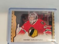 14-15 Masterpieces Corey Crawford Black framed Leather Patch /25 SP SSP rare