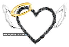 "dark angel black diamond .05 carat heart wings halo 925 pendant 18"" necklace"