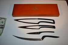 Vintage Set of Kitchen Knives NESTING by Stone River  with Wooden Storage Box