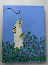 Handpainted Acrylic Original Of Finches Signed On Canvas