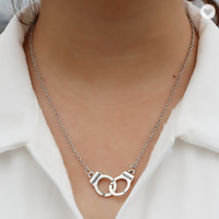 Retro Silver Freedom Handcuff Chain Boho Statement Pendant Necklace UK Seller
