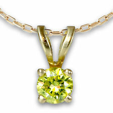 0.1-0.15 Carat Fancy Yellow Natural Diamond Pendant 14k Yellow Gold Promotion!