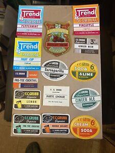 F C Grub Vintage Drink Label Set Of 14 Nos Labels Gladstone S A