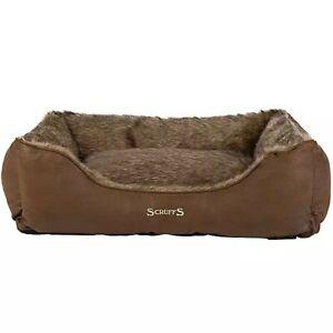 Scruffs Siberian Pet Box Bed In Timber Brown - 50 x 40 x 14cm - BNWT