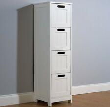 Colonial Bathroom Slim 4 Chest of Drawers Cabinet Tong & Groove Effect - White