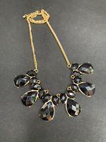 "Vintage Large Black faceted Lucite gold bib  statement necklace 20"" Long"