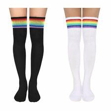 Женские крупной вязки длинные в полоску носки ботфорты бедра школьница чулок