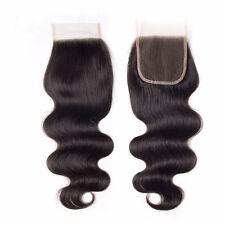 4X4 Lace Closure 8A Brazilian Virgin Hair Free Part Body Wave Bleached Knots 12'