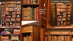 Mahogany Breakfront Bookcase - English Sheraton Open